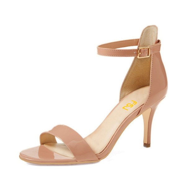 On Sale Blush Patent Leather Stiletto Heel Ankle Strap Sandals image 1