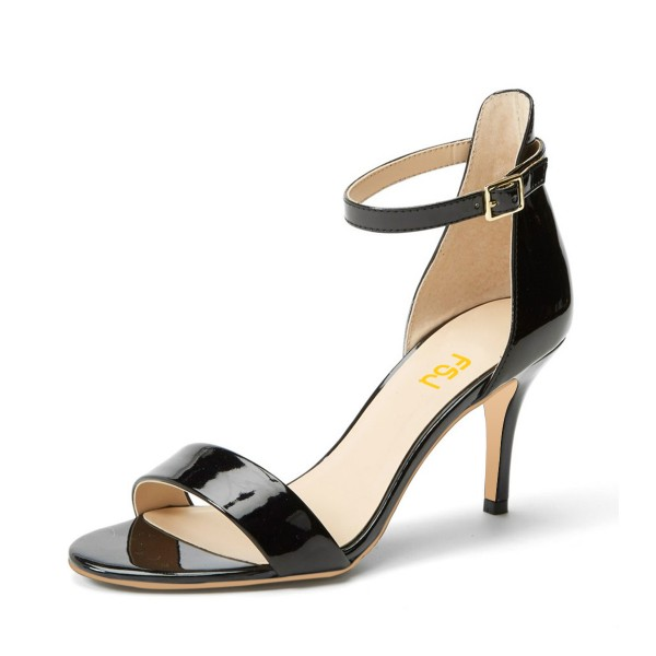 Black Patent Leather Ankle Strap Sandals Stiletto Heels Office Sandals image 1