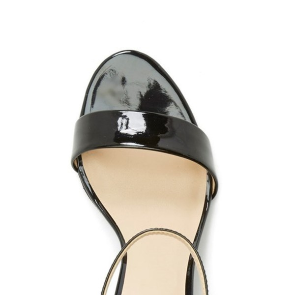 Black Patent Leather Ankle Strap Sandals Stilettos OfficeHeels image 3