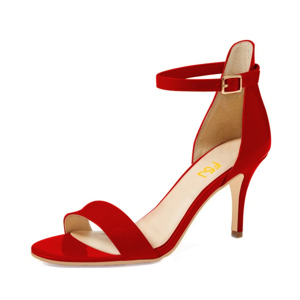 Red Ankle Strap Sandals 3 Inches Heels Shoes for Work, Party ...