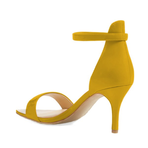 Women's Yellow Patent Leather Stiletto Commuting Heel Ankle Strap Sandals image 3
