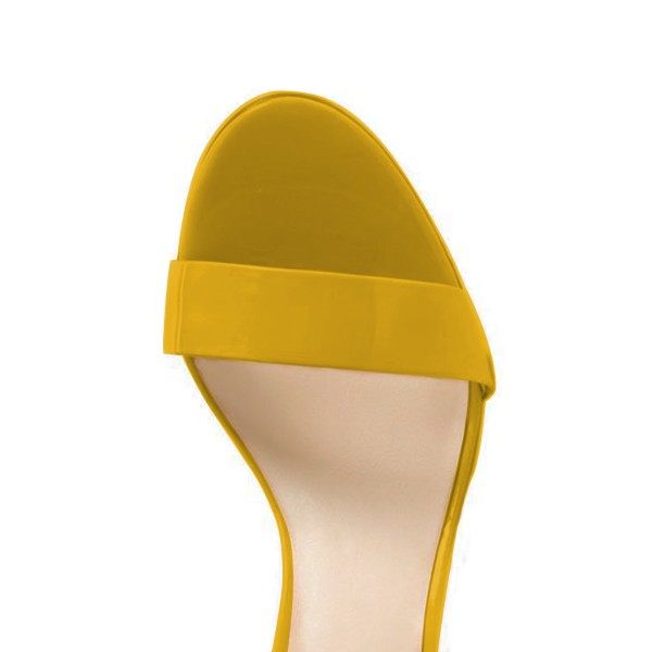 Women's Yellow Patent Leather Stiletto Commuting Heel Ankle Strap Sandals image 2