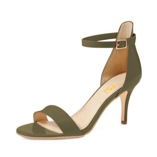 On Sale Olive Patent Leather Stiletto Heel Ankle Strap Sandals image 1