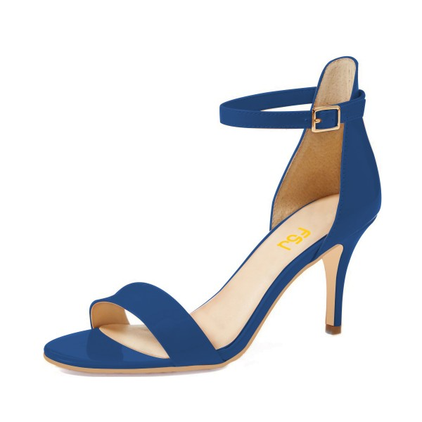 Royal Blue Heels Ankle Strap Sandals Stiletto Heels Open Toe Shoes ...