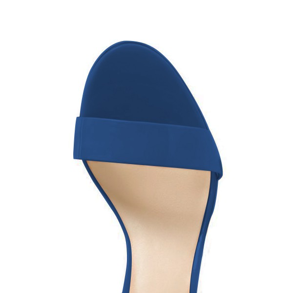 FSJ Blue Vegan Ankle Strap Sandals Open Toe Office Sandals image 2