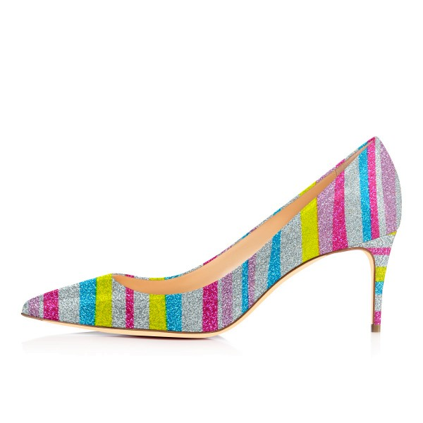 Women's Colorful Stripes Pointed Pencil Stiletto Heels Pumps Shoes image 3
