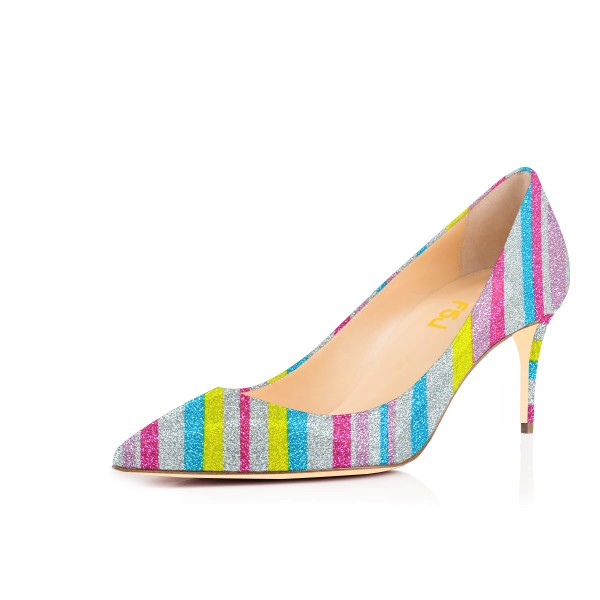 Women's Colorful Stripes Pointed Pencil Stiletto Heels Pumps Shoes image 1