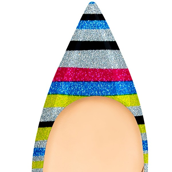 Multi-color Kitten Heels Pointy Toe Rainbow Pumps for Female image 4