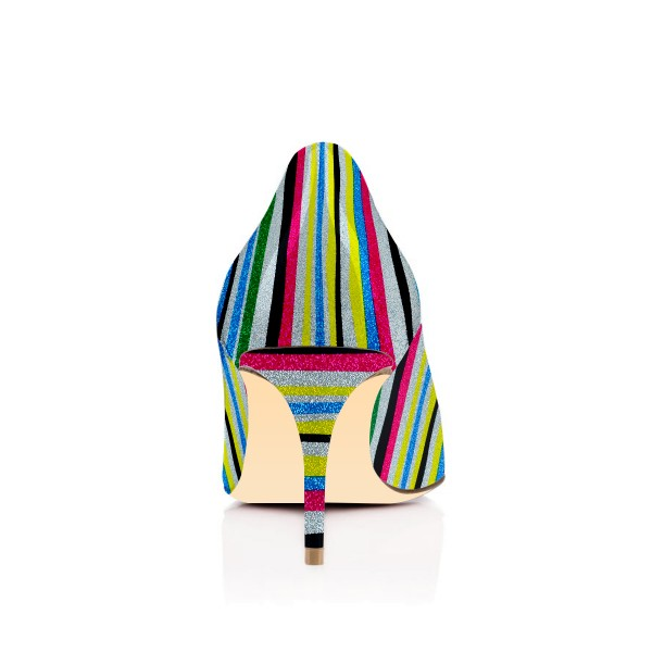 Multi-color Kitten Heels Pointy Toe Rainbow Pumps for Female image 2