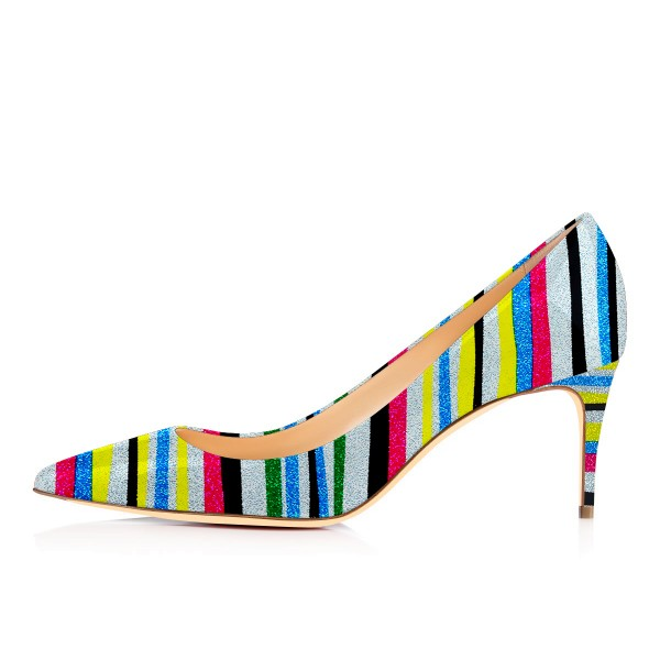 Multi-color Kitten Heels Pointy Toe Rainbow Pumps for Female image 3