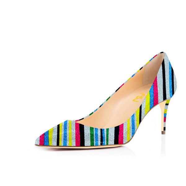 Multi-color Kitten Heels Pointy Toe Rainbow Pumps for Female image 1