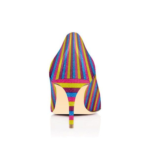 Colorful Kitten Heels Rainbow Stripes Pointy Toe Pumps image 2