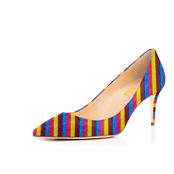 Colorful Kitten Heels Rainbow Stripes Pointy Toe Pumps image 1