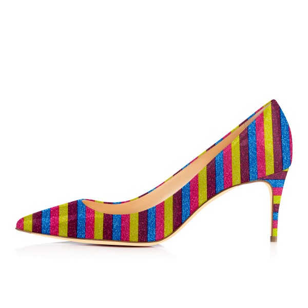 Colorful Kitten Heels Rainbow Stripes Pointy Toe Pumps image 4