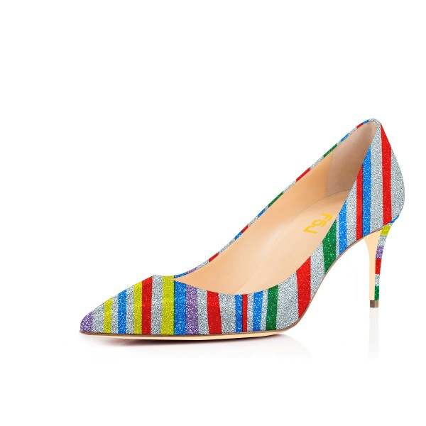 Multi-color Kitten Heels Rainbow Colorful Stripes Pointy Toe Pumps image 1