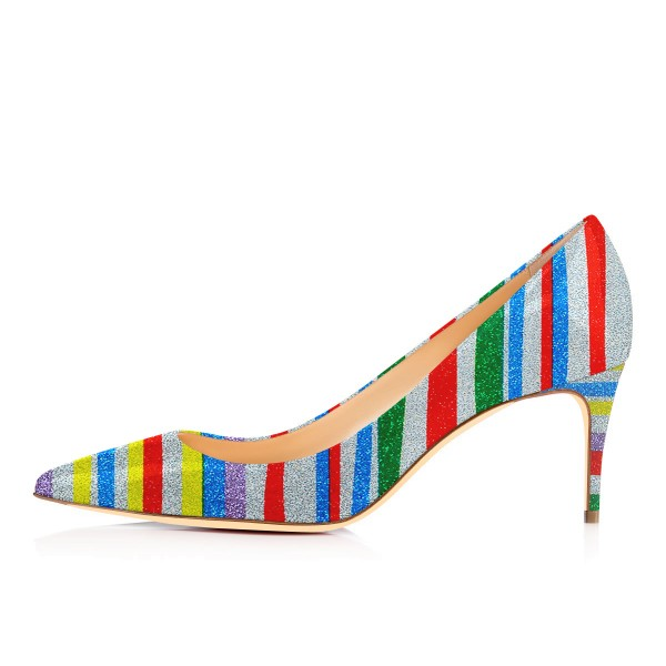 Multi-color Kitten Heels Rainbow Colorful Stripes Pointy Toe Pumps image 2