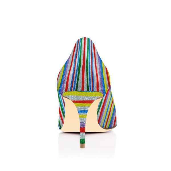 Multi-color Kitten Heels Rainbow Colorful Stripes Pointy Toe Pumps image 3