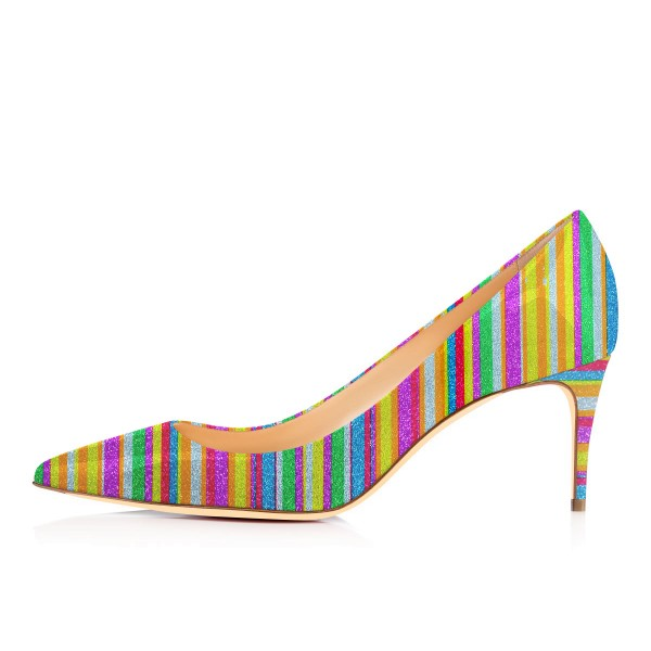 Women's Colorful Stripes Pointed Toe Pencil Heel Pumps Shoes image 2