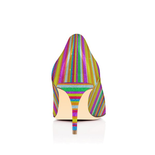Women's Colorful Stripes Pointed Toe Pencil Heel Pumps Shoes image 3