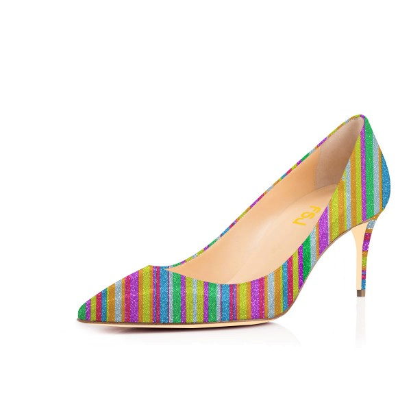 Women's Colorful Stripes Pointed Toe Pencil Heel Pumps Shoes image 1