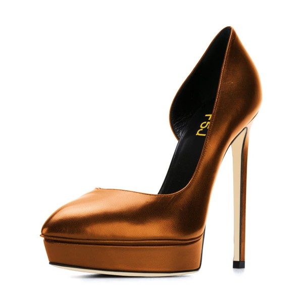 Dark Champagne Formal Office Heels Stilettos Platform Pumps image 1