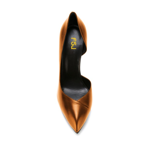 Dark Champagne Formal Office Heels Stilettos Platform Pumps image 4
