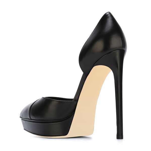 Black Office Heels Platform D'orsay Pumps Stiletto Heels Dress Shoes image 2