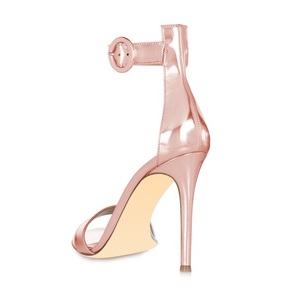 Rose Gold Shoes Metallic Ankle Strap Stiletto Heel Sandals image 2