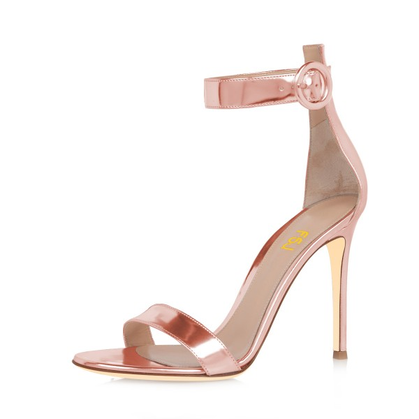 Rose Gold Shoes Metallic Ankle Strap Stiletto Heel Sandals for ...