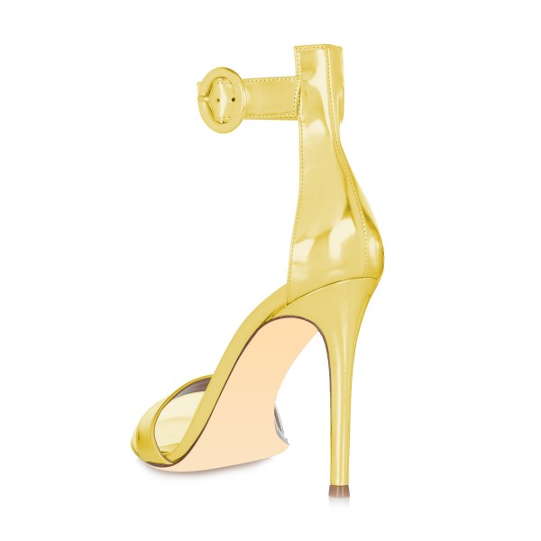 Women's Golden Metal Leather Stiletto Commuting Heel Ankle Strap Sandals image 2