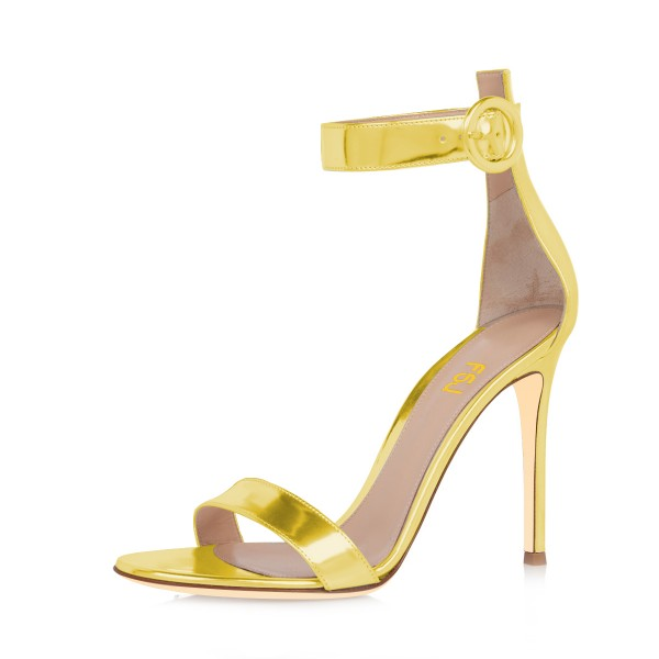 Women's Golden Metal Leather Stiletto Commuting Heel Ankle Strap Sandals image 1