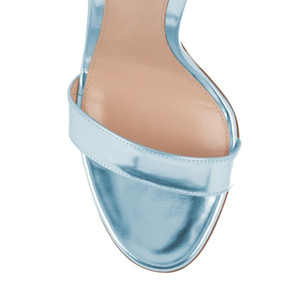 Light Blue Mirror Leather Ankle Strap Sandals Open Toe Office Heels image 3