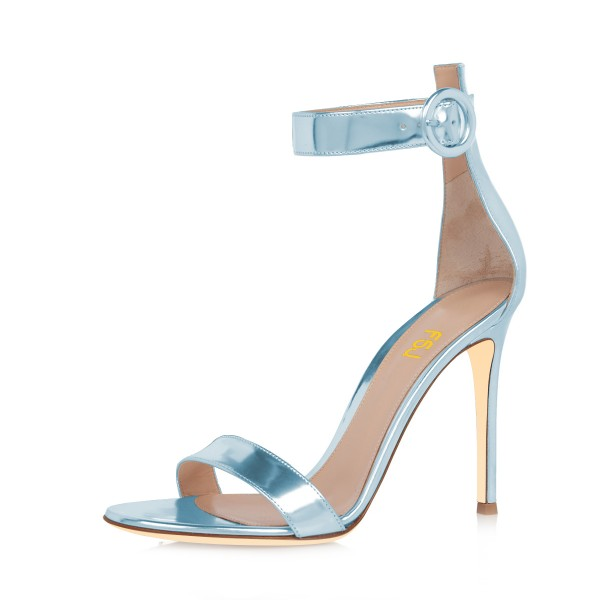 Light Blue Mirror Leather Ankle Strap Sandals Open Toe Office Heels image 1
