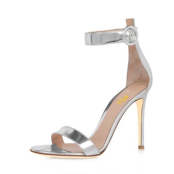 Silver Ankle Strap Sandals 3 Inch Stiletto Heels Shoes for Work ...