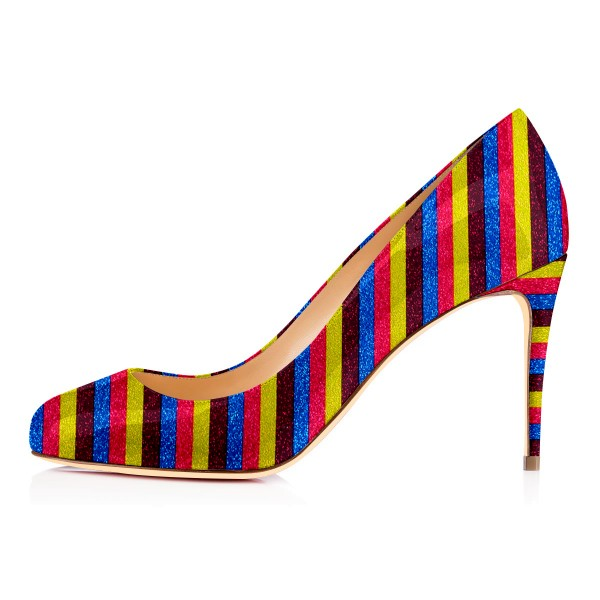 Multi-color Stripes Stiletto Heels Rainbow Round Toe Pumps image 3