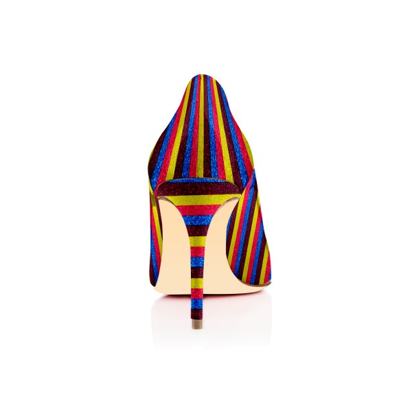 Multi-color Stripes Stiletto Heels Rainbow Round Toe Pumps image 2