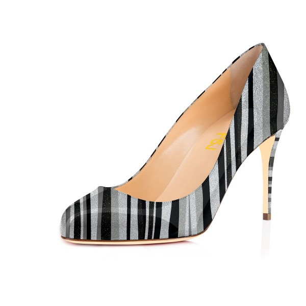 Black and Silver Stripes Stiletto Heels Round Toe Pumps image 1