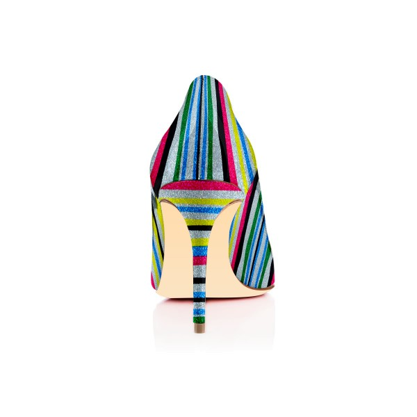 Women's Spring Stripes Multi-color Round Toe Stiletto Heels Shoes image 2