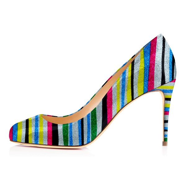 Women's Spring Stripes Multi-color Round Toe Stiletto Heels Shoes image 3