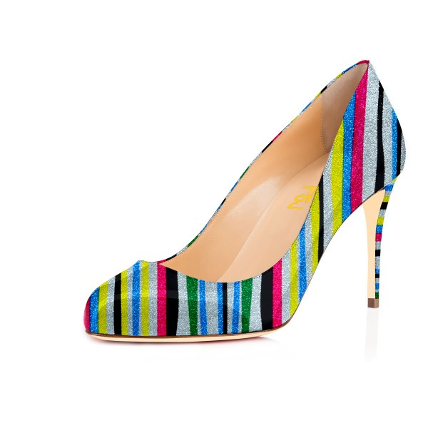 Women's Spring Stripes Multi-color Round Toe Stiletto Heels Shoes image 1