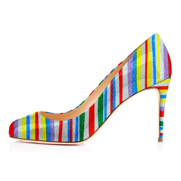 Rainbow Stiletto Heels Colorful Stripes Round Toe Pumps image 3