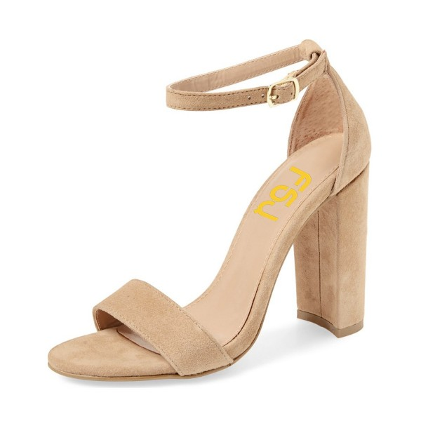 Khaki Suede High Heel Shoes Open Toe Ankle Strap Sandals image 1