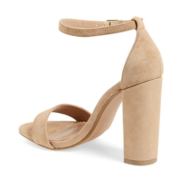 Khaki Ankle Strap Sandals Open Toe Suede Block Heel Sandals  image 2