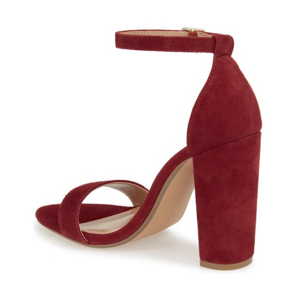 Women's Red Ankle Strap Sandals Suede Open Toe Chunky Heels Pumps image 2
