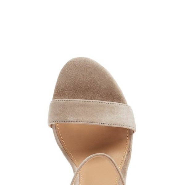 Women's Taupe Chunky Heels Open Toe Ankle Strap Sandals image 2