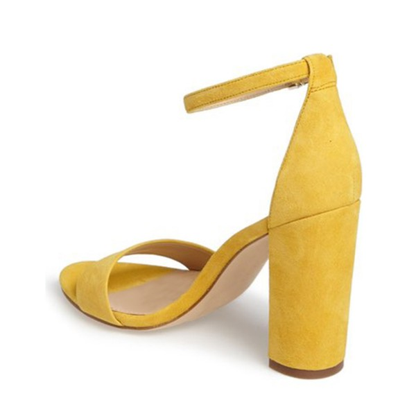 Women's Yellow Formal Shoes Open Toe Chunky Heels Ankle Strap Sandals image 3