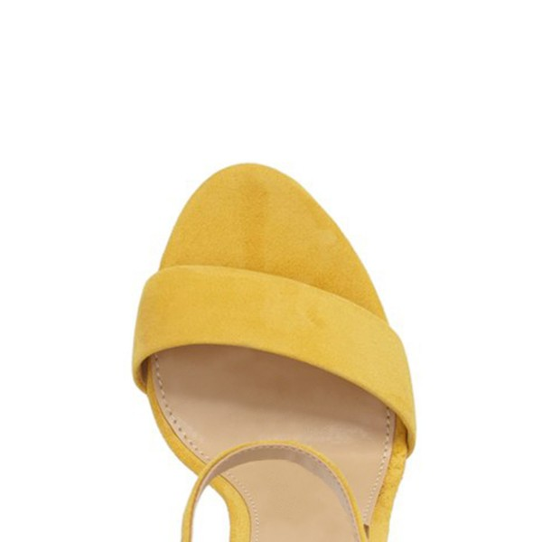 Women's Yellow Formal Shoes Open Toe Chunky Heels Ankle Strap Sandals image 2