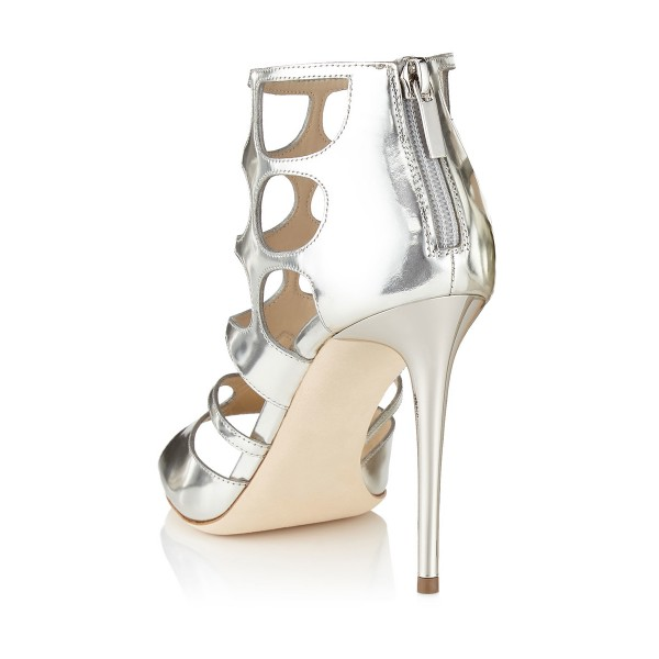 Women's Silver Bridesmaid Hollow-out Elegant Formal Shoes Evening Sandals image 2