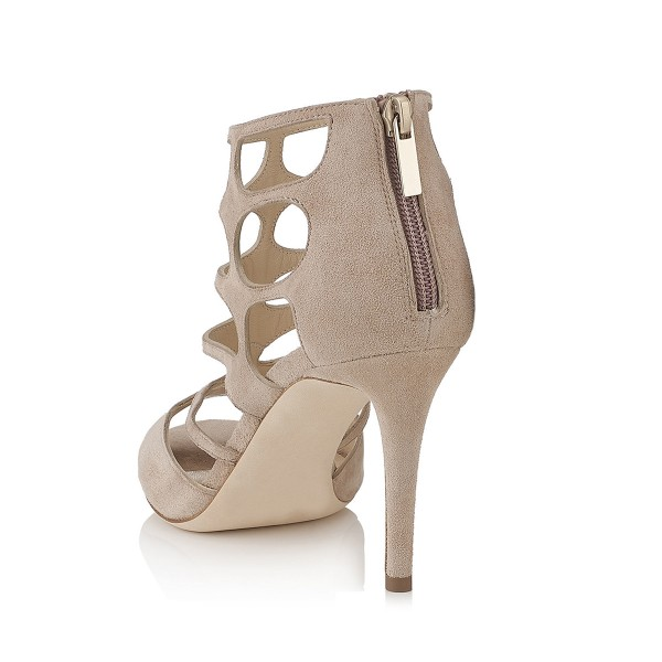 Women's Khaki Stiletto Heels Hollow-out Elegant Formal Summer Sandals image 2
