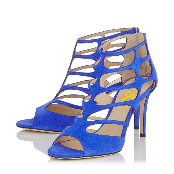 Women's Blue Hollow-out Peep Toe Stiletto Heels Formal Shoes image 1